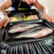 Cooking Dorado fish in the oven. — Stock Photo #49120831