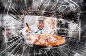 Funny chef perplexed and angry. Loser is destiny! — Stock Photo