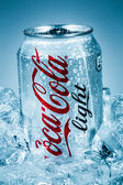 Can of Coca-Cola Lignt on ice. — Stock Photo