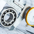 Ball bearings on technical drawing — Stock Photo #51022689