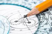 чертеж детали и карандаш — Стоковое фото