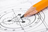 Detalhe de desenho e lápis — Foto Stock