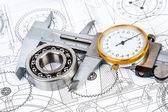Ball bearings on technical drawing — Stock Photo