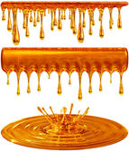 Dripping and splash golden honey or caramel — Stock Photo
