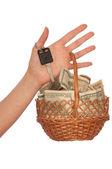 Basket with money — Stock Photo