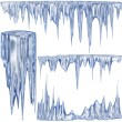 Blue cold icicles - Stock Photo