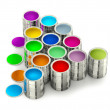 Stock Photo: Cans with colorful paints