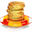 Lifebuoy with a coins for capital preservation - Stock Photo