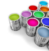 Cans with colorful paints — Stock Photo