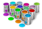Colorful paints in the cans — Stock Photo