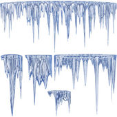 Blue thawing icicles — Stock Photo