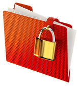 Red folder with golden hinged lock — Stock Photo