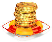 Lifebuoy with a coins for capital preservation — Stock Photo