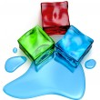 Stock Photo: Different colored cube jellies and ice