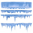 Blue icicles - Stock Photo