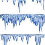Melting blue icicles — Stock Photo