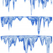 Collection of winter thawing icicles — Stock Photo