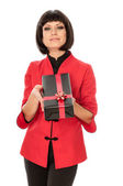 Gift with red bow — Stockfoto