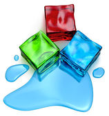 Different colored cube jellies and ice — Stock Photo