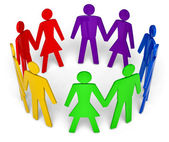 Figures of peoples arranged in the circle — Stock Photo