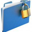 The blue folder with golden hinged lock — Stock Photo