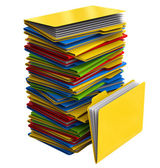 A pile of multi-colored folders with documents — Stock Photo