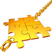 Gold chains with the collected puzzles — Stock Photo