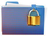 Blue folder with golden hinged lock — Stock Photo
