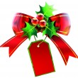 Red Christmas bow with label — Stock Photo #13149709