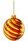 Christmas-tree ball with gold and red spiral — Stock Photo