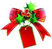 Moño rojo navidad con etiqueta — Foto de Stock