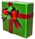 зеленый рождественский подарок с красной лентой и бантом — Стоковое фото