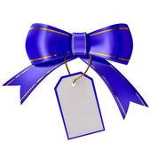 Blå jul bow med etikett — Stockfoto