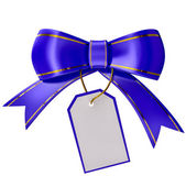 Blue Christmas bow with label — Stock Photo