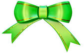 Green satin gift bow — Stock Photo