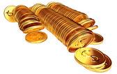 Stacks of gold dollar coins — ストック写真