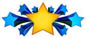 Set of nine shiny gold stars in motion — Stock Photo