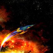 Rozpálené vesmírnou loď a mlhovina — Stock fotografie