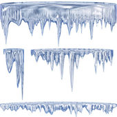 Blue cold icicles — Stock Photo