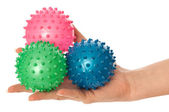 Three colored massage balls — Stock Photo