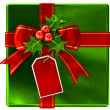 Christmas green gift with red ribbon and bow — Stock Photo
