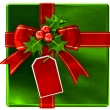 Christmas green gift with red ribbon and bow - Stock Photo