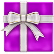 Christmas lilac gift with white ribbon and bow - Stock Photo