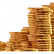 Stacks of gold dollar coins - Stock Photo