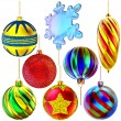 Set of Christmas-tree balls and snowflake — Stock Photo