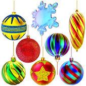 Set of Christmas-tree balls and snowflake — Stock Photo