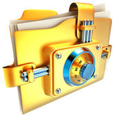 Folder with golden lock — Stock Photo