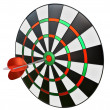 Dart in the center of darts — Stock fotografie