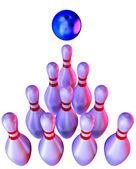 Bowlingklot krascha in i käglor — Stockfoto