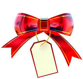 Röd jul bow med etikett — Stockfoto